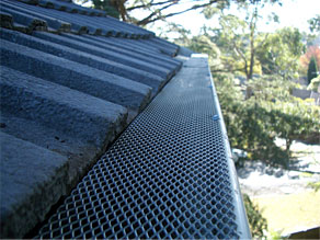 gutter guard complete on tiled roof